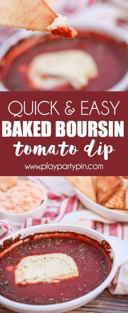 This baked Boursin and tomato dip is a super easy appetizer and perfect for a Christmas or New Year's Eve party appetizer! It's a must to add to your list of Boursin cheese recipes. And best of all, it works for pretty much everyone, even people who are only eating vegetarian recipes or vegan recipes.