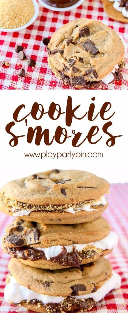 Move over cupcakes, there's a new food in town. These cookie smores are one of my favorite easy desserts ever. Chocolate chip cookies combined with your favorite smores dessert ingredients makes for one of those desserts that people will remember. Such a fun idea for a fall or winter party!