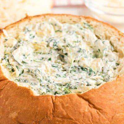 Best spinach artichoke dip in a bread bowl