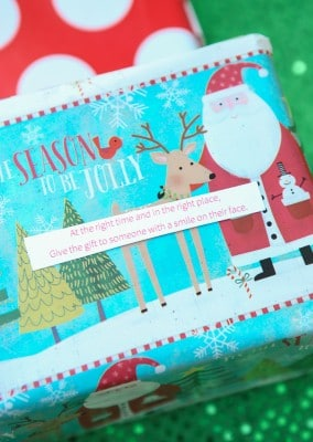 """Love this fun twist on traditional gift exchange games! Wrap up gifts with multiple layers of wrapping and a passing phrase in between with something like, """"Hey there good-looking, now it's up to you, hand the gift over to someone wearing blue."""" Three free printable poems to use for the game! Such a fun gift exchange idea and could be awesome with DIY gifts like homemade cookies or Christmas crafts!"""