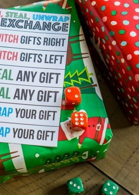 A fun gift exchange game using dice and wrapped gifts