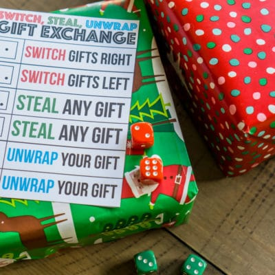 Printable Switch, Steal, Unwrap Gift Exchange Game Idea