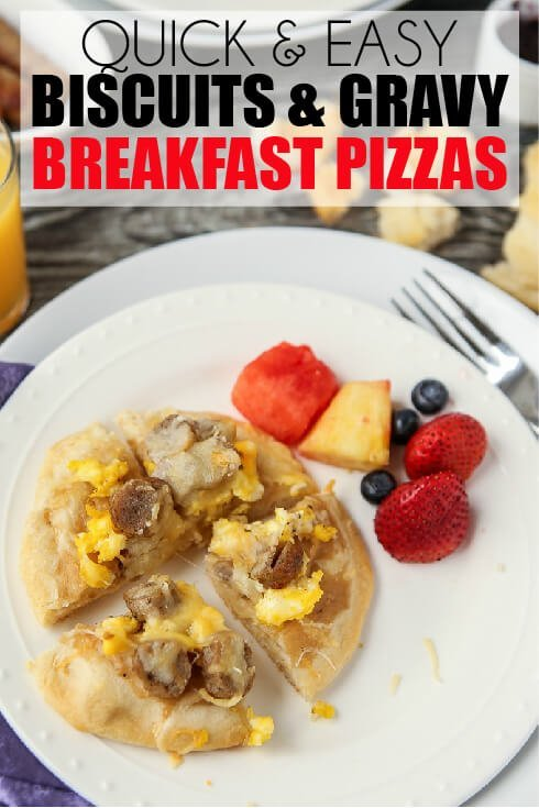 These biscuit and gravy breakfast pizzas are a super easy recipe and a perfect way to combine your favorite breakfast flavors into one recipe! They'd also make one yummy and easy dinner recipe. I'm definitely trying these with some maple syrup drizzled on top!