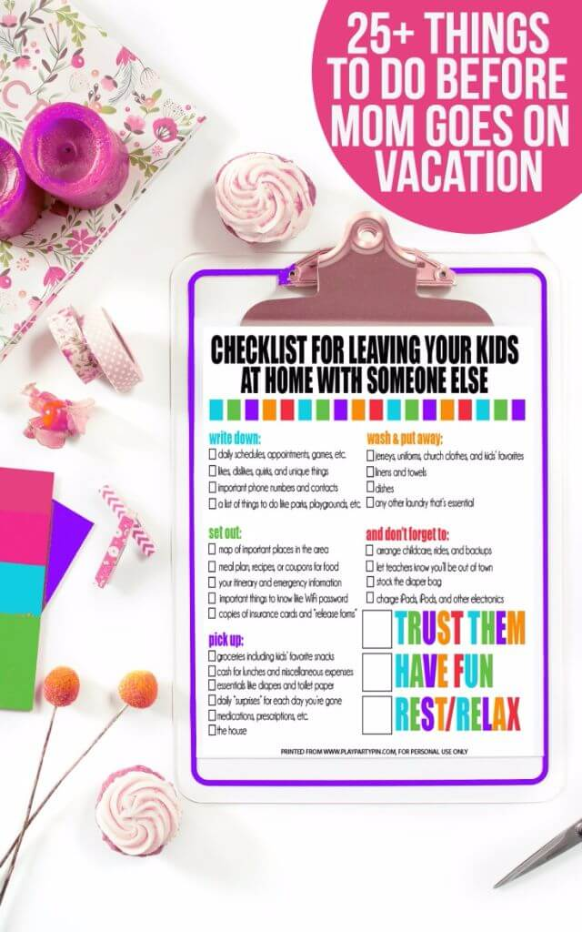 Free Printable MomS On Vacation Checklist  PlayPartyPlan