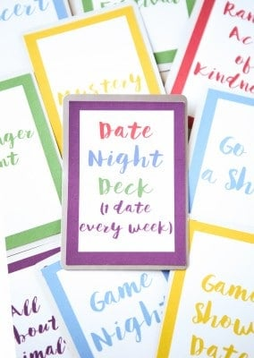 Easiest DIY gift ever and one of the cutest Valentine's Day gifts for him or her I've seen! Just print off the 52 free date night cards, put them on the back of playing cards to create a date night deck! So easy, inexpensive, and something that you'll both enjoy all year long. And a printable list of over 150+ date ideas so you'll never ask what should we do again.