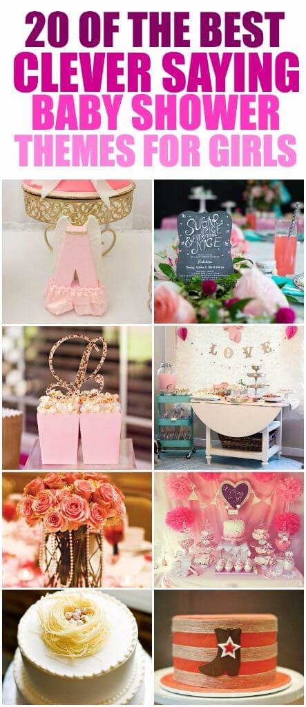 Over 50 creative baby shower themes for a baby girl including the cutest clever saying themed baby shower ideas! Everything from fashion inspired to Disney inspired to baby shower ideas inspired by funny sayings! And I love that there are also ideas for DIY gifts, party favor gift ideas, cupcakes, and even crafts for the different themes! I'm definitely going to try out one of the animal inspired themes soon.