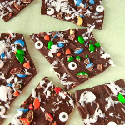 Monster themed chocolate bark recipe, so simple and delicious!