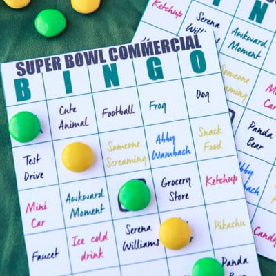 2016 Super Bowl Commercial Bingo and Party Ideas