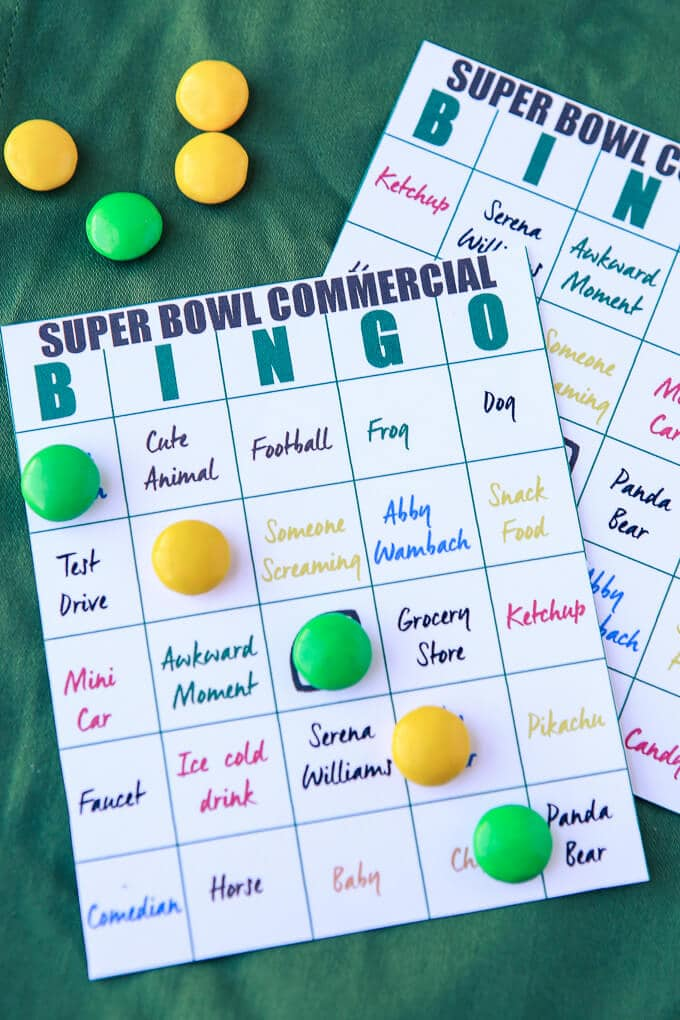 Free printable Super Bowl commercial bingo cards, one of the best Super Bowl party games ever! Love these cards because they have things that can be used for multiple commercials giving people more chances to win! I'm definitely doing this as my Super Bowl party!