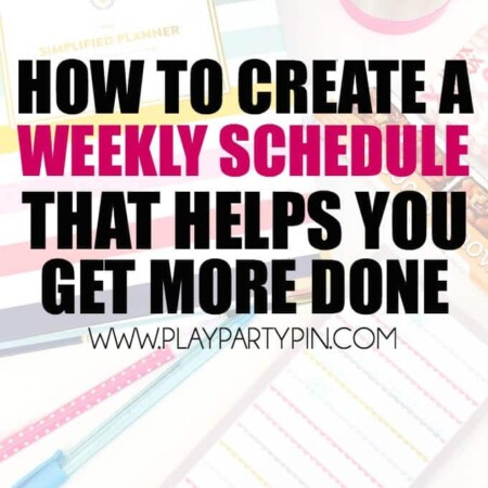 Five great tips for creating a weekly schedule that will actually help you get more done each week! Everything from creating a weekly meal plan (and writing it on the schedule) to scheduling in time for crafts and your latest ab workout. These schedule organization tips are fantastic but #5 is my favorite!