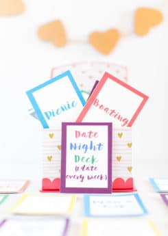 A box of date night cards full of date night ideas