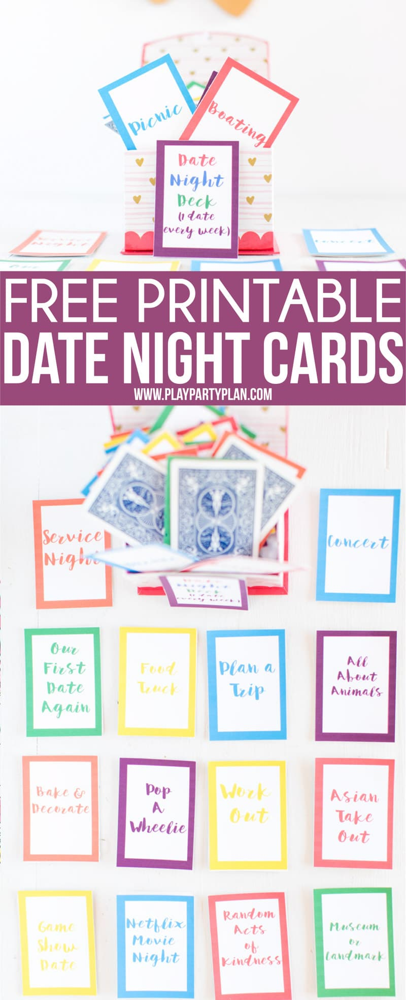 This date night deck is the perfect thoughtful homemade gift for women or for guys! Simply print out the deck, add to playing cards, and have an entire year's worth of date night ideas ready to go! Date nights that work at home, for married couples (or not), or just for someone looking for activities outside of a romantic dinner out. #datenight #datenightideas #giftideas #valentinesday #anniversarygift #gifts
