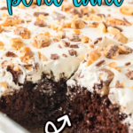 Snickers poke cake with text for Pinterest