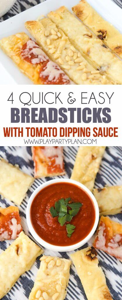 Four quick and easy breadsticks made in four different ways all from the same flatbread base! Such easy appetizers idea when paired with a delicious tomato sauce!