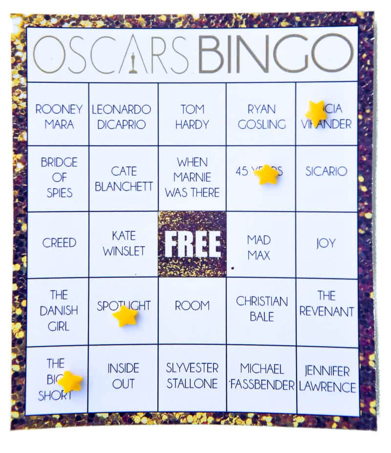 Free Printable Oscars Bingo Cards on oscar bingo games