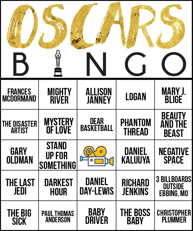 Oscars bingo is fun for an Oscar party