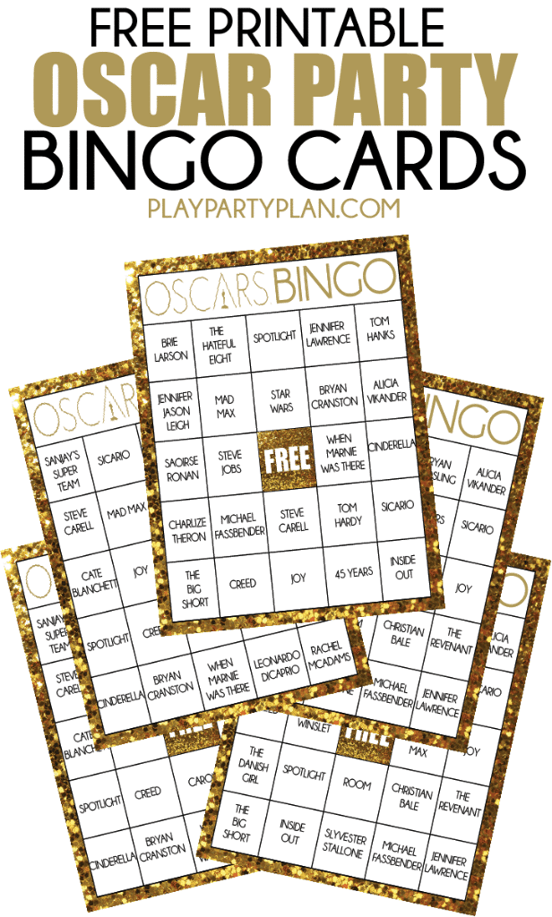 These free printable bingo cards are made specifically for this year's Oscars! Free printable Oscars bingo filled in with all of this year's nominees or there's even a blank version. Such a fun party game and other fun Oscars party ideas too!