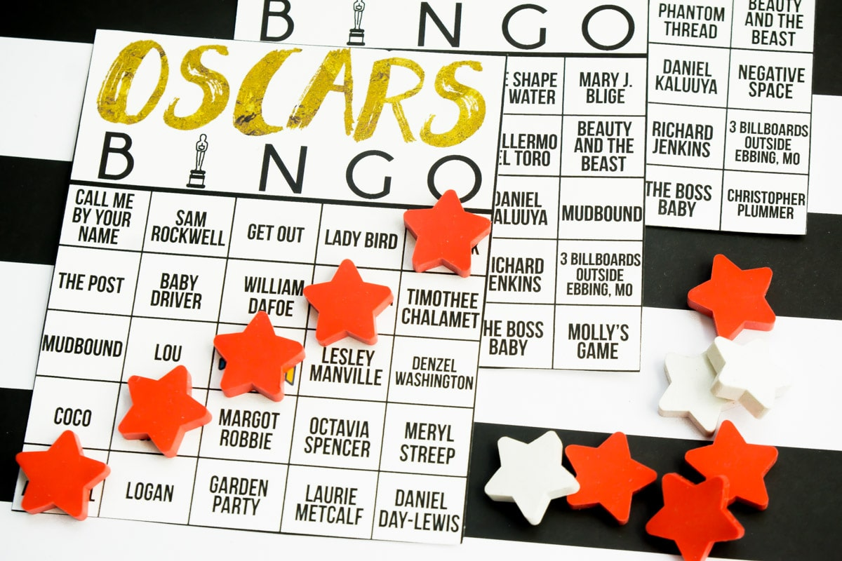A fun Oscars bingo game for Oscar night!