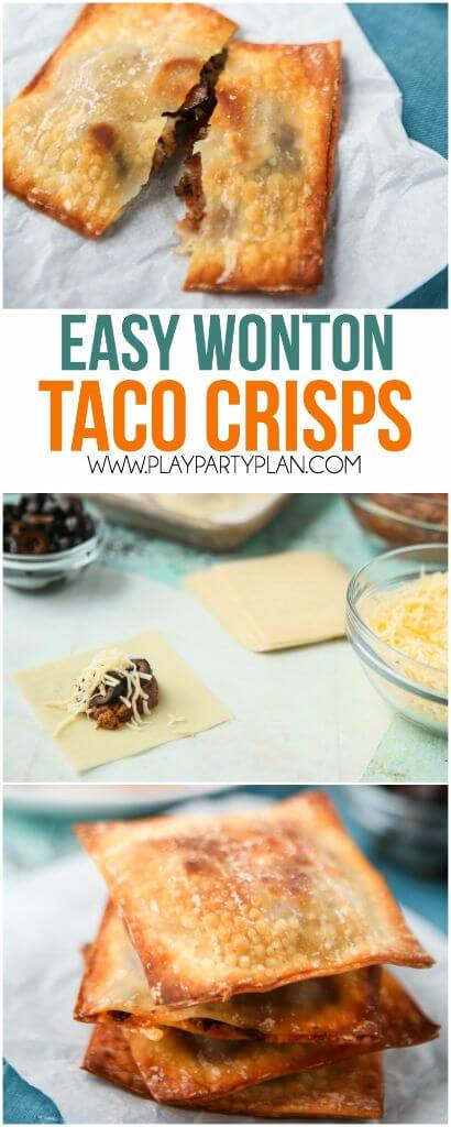 These taco wonton crisps are the perfect easy appetizer for a party! Fill a wonton with taco filling, bake in the oven, and enjoy! Such a yummy taco recipe!