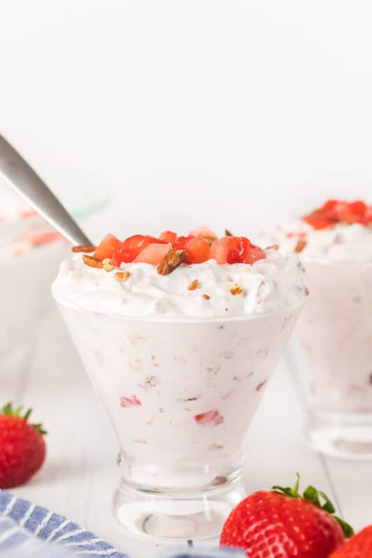 Individual portion of strawberry fluff