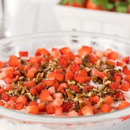 Bowl of strawberry fluff salad