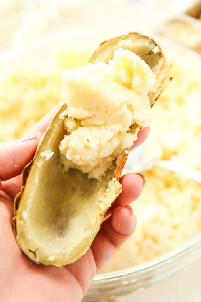 These creamy twice baked potatoes are the absolute best twice baked potatoes ever! They're creamy, flavorful, and delicious! The perfect easy appetizers for a holiday brunch or dinner.