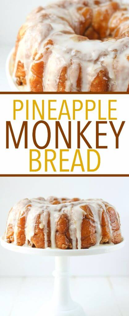 This pineapple monkey bread recipe is perfect for Easter brunch or even for a dessert on a baby shower dessert table! Since you make this monkey bread with canned biscuits and pineapple juice, it's an easy monkey bread recipe that everyone can make! Definitely one of my favorite recipes for a pineapple cake and one of the easiest desserts or breakfast recipes ever!