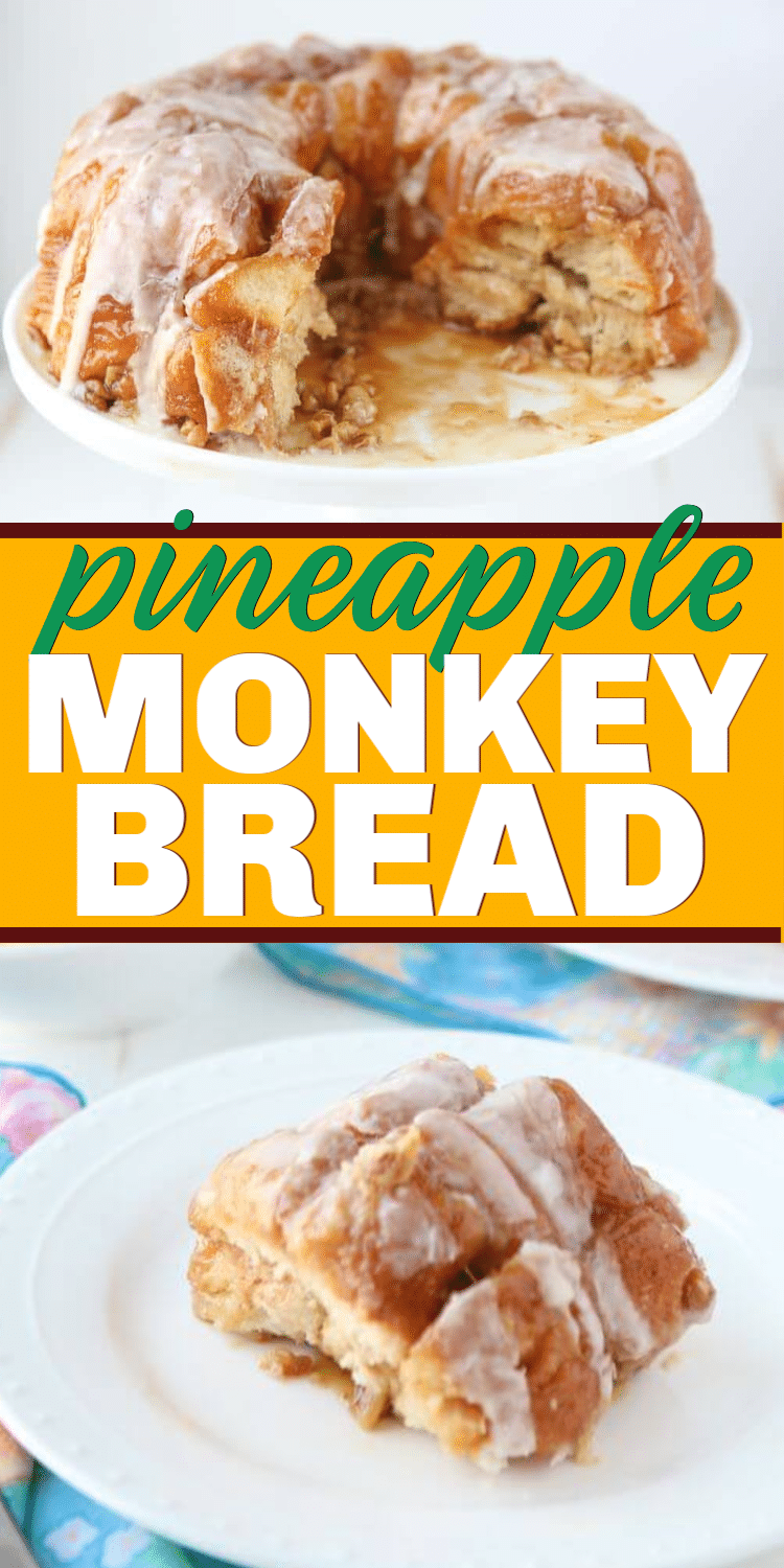 The best pineapple monkey bread recipe made with canned biscuits, pecans, and pineapple! Easy to make and absolutely delicious!