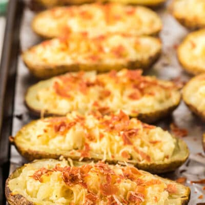 Twice baked boursin cheese potatoes on a sheet pan