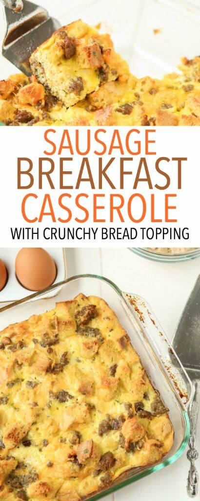This egg and sausage breakfast casserole recipe is the best one I've ever tried! Love the crunchy bread on top!