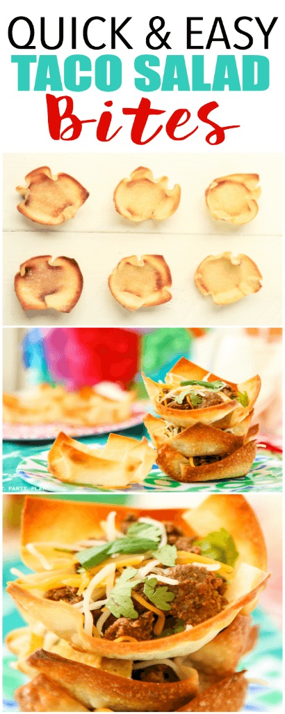 "These taco salad bites look amazing, perfect for parties, bridal showers, or even baby showers! Make little crispy ""taco"" shells in a muffin tin and fill with taco salad toppings!"