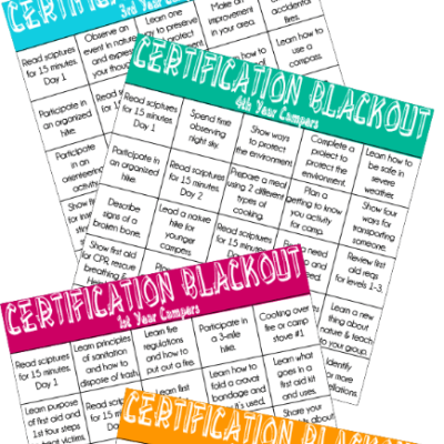 Girls Camp Certification Blackout Cards