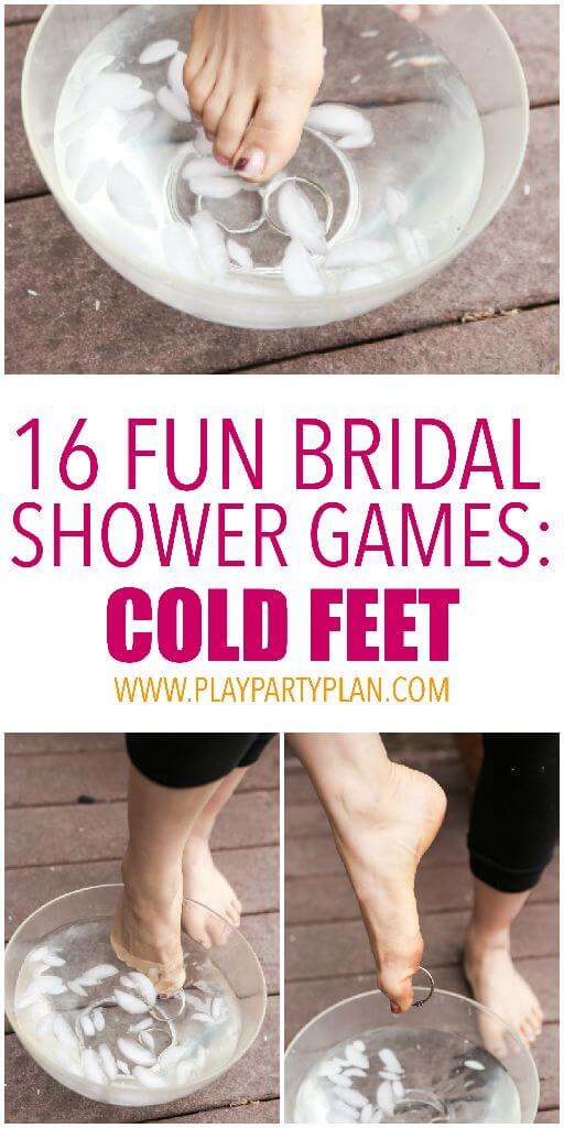 picking up things in cold water in a series of bridal shower games