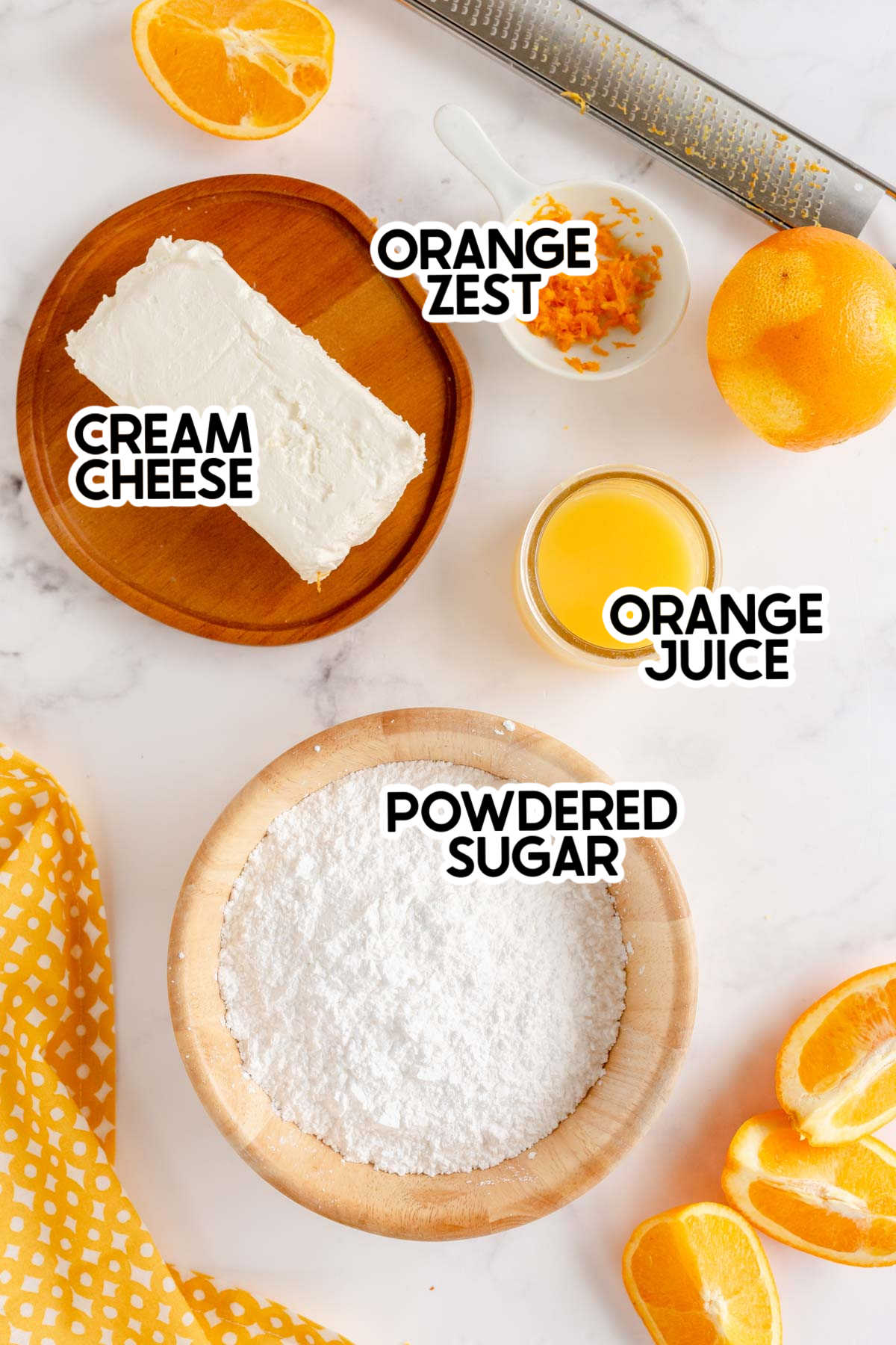 ingredients for a fruit dip with labels