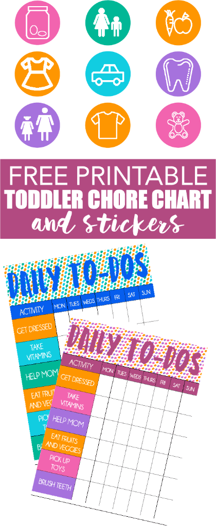 This free printable chore chart for toddlers is perfect and comes with free printable stickers that match the chart! Such a cute idea and love that it comes with boy and girl versions!