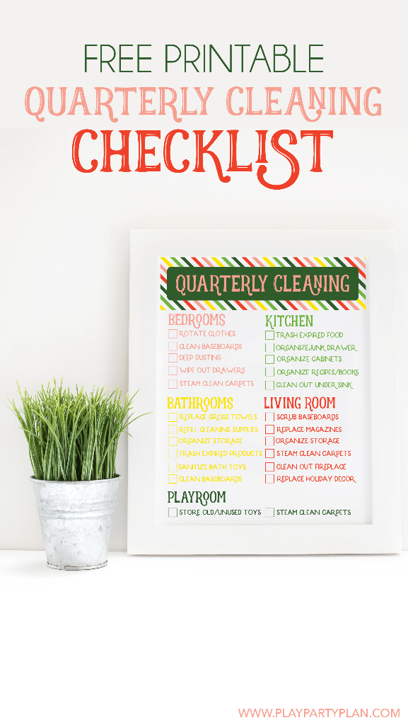 Free printable quarterly cleaning checklist from playpartyplan.com, great spring cleaning idea