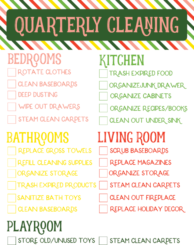 free printable quarterly cleaning checklist play party plan