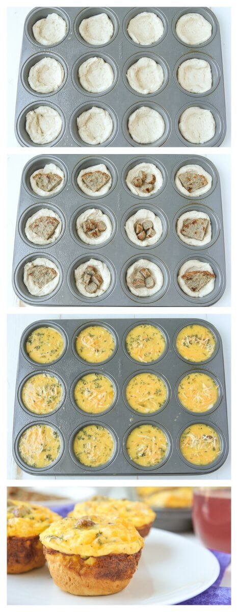 This easy sausage and egg muffin recipe combines your favorite breakfast flavors in a great make ahead egg muffin cups recipe that's perfect for kids or adults. Make a bunch and stick them in the freezer then heat up throughout the week for a bit of protein in the morning!