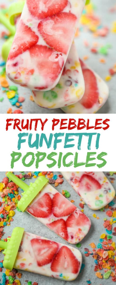 This homemade Fruity Pebbles funfetti popsicles recipe is a fun way to get kids to eat fruit and yogurt during the summertime. They're the perfect healthy alternative to the other treats your kids will be craving on a hot summer day. And bonus, they're healthy and on a stick. I mean, who doesn't love anything on a stick? Perfect to DIY with your kids then enjoy as a family.