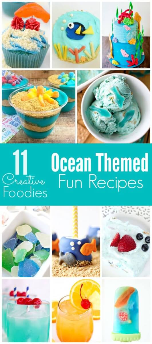 11 fun ocean themed recipes perfect for a Finding Dory, beach, or ocean party!