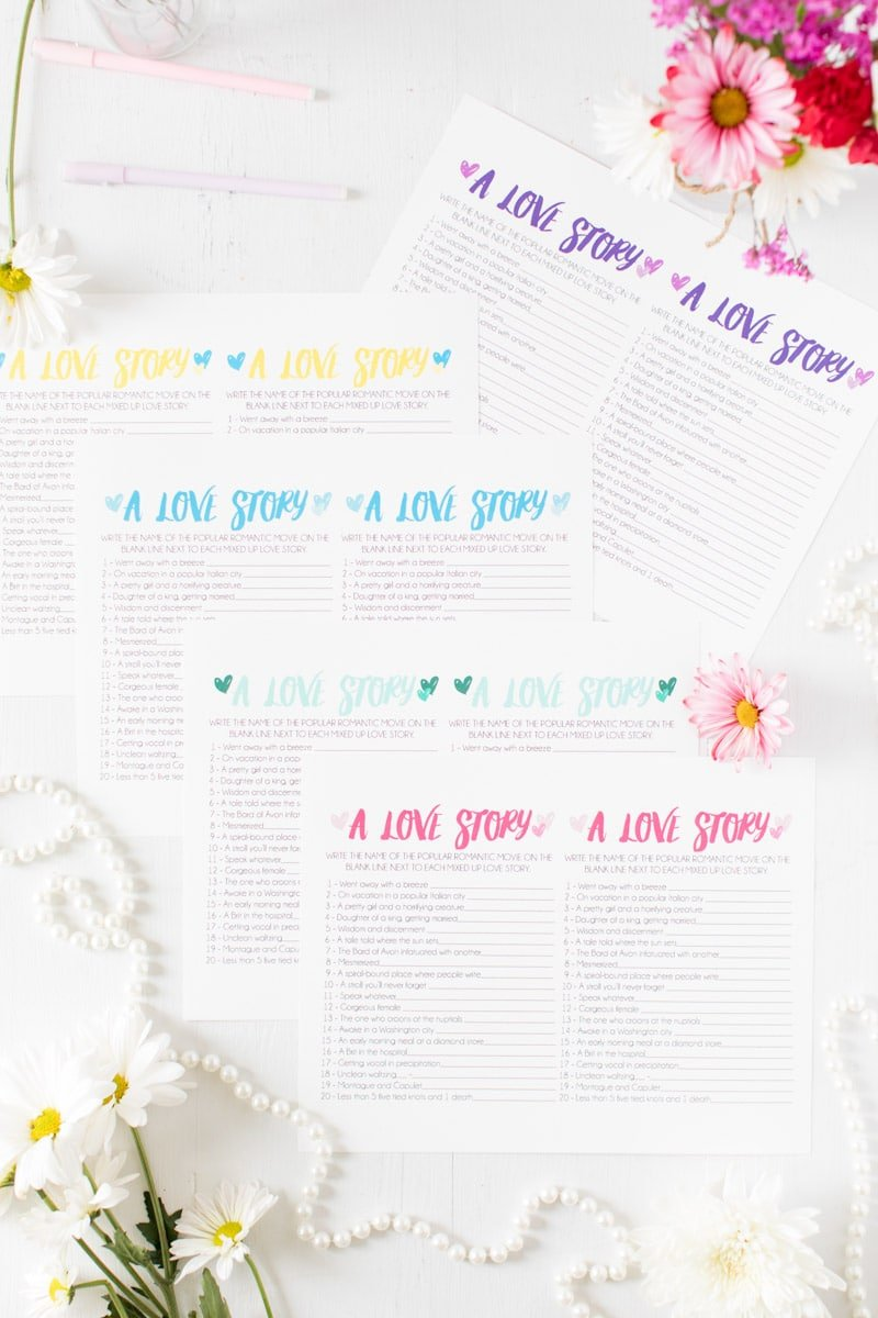 Printable bridal shower games all ready for a wedding shower