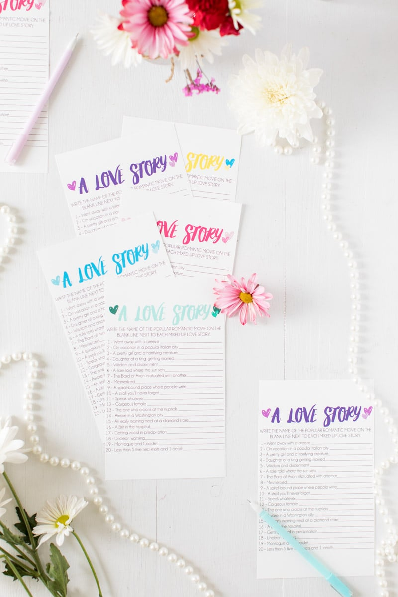 Individual printable bridal shower games with prize ideas