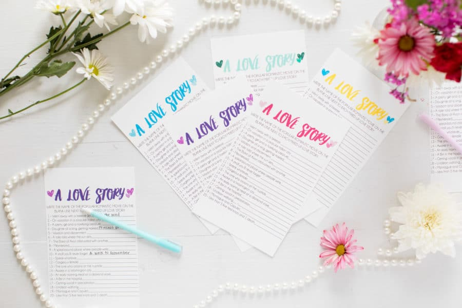 Free Printable Love Story Bridal Shower Game