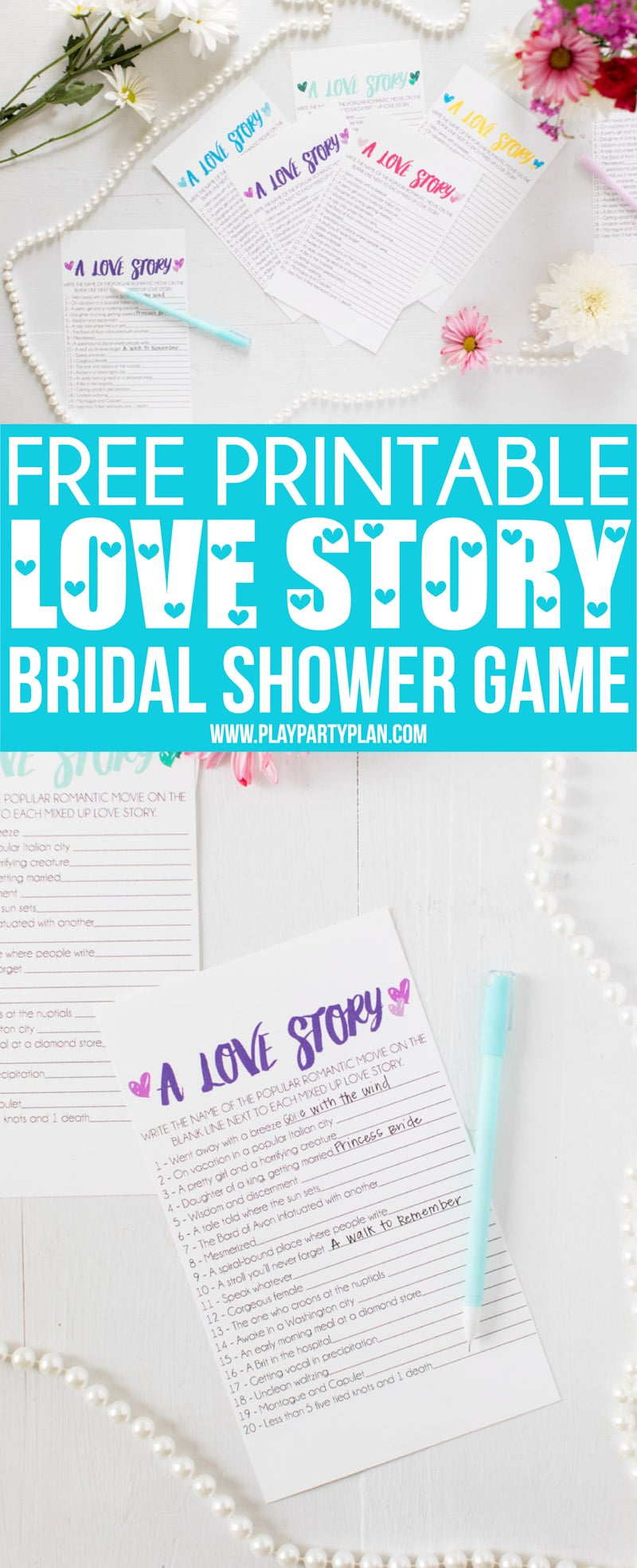 Free Printable Love Story Bridal Shower Game - Play Party Plan