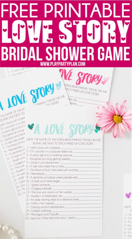 Looking for unique and funny bridal shower games that don't suck? Get the free printables for this love story bridal shower game for a simple and easy game for large groups or small ones! It's one of the best wedding shower games ever - and even includes great prizes to give the winner! #bridalshower #bridalshowergames #freeprintables #weddingshower #partygames