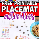 Printed activity placemats in a collage