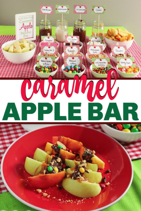 Let everyone make their own caramel apple nachos with this fun caramel apple nacho bar! Perfect for any apple party or really just any fall party!