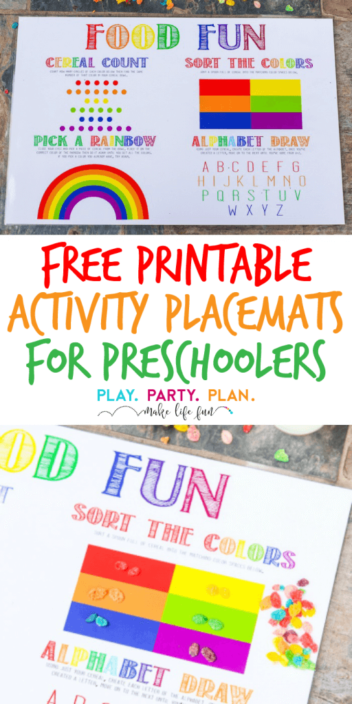 These free printable placemats for preschools are a fun way to get kids excited to go back to kindergarten or preschool! Perfect for a back to school breakfast, party, or even just for 3 year olds to enjoy every day. I love all four DIY back to school ideas and activities, and I know my son will absolutely love the pick a rainbow activity!