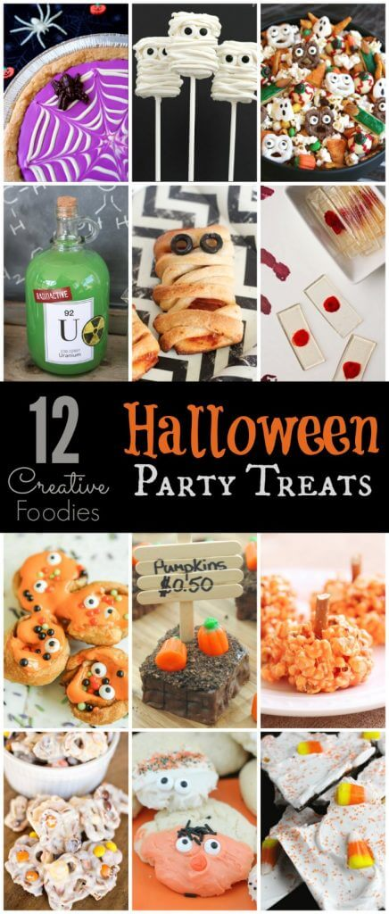 12 great Halloween party food recipes that cover everything from easy Halloween dinner ideas to healthy desserts, cheap appetizers, and more! Perfect for adults, for kids, and for everyone in between! I can't wait to try the mini monster rolls!