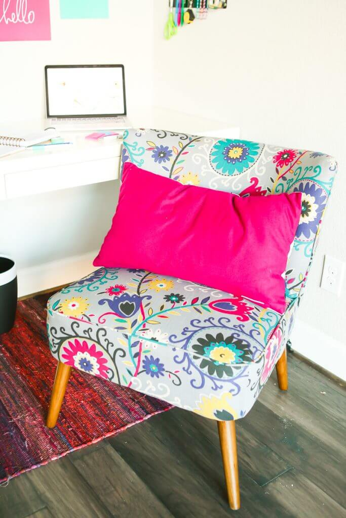 Looking for creative office ideas? This office makeover is the perfect combination of neutral cute furniture pieces mixed with a fun pop of color. It's perfect for women who work at home and has tons of great organizing and DIY ideas for small spaces. I absolutely love that magnet wall!